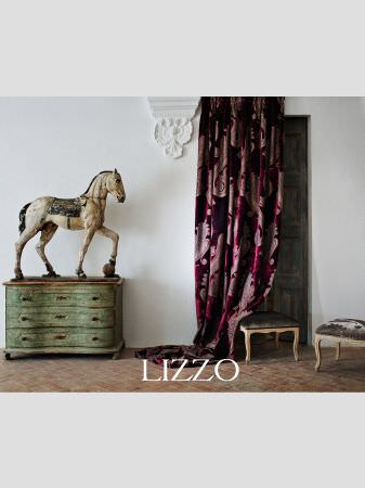 Lizzo -  Opera Fabric Collection - Black velvet pink stripe cushion and square patterned fabric