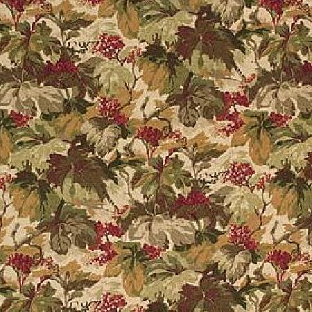 Mulberry Home -  Best of Mulberry Prints Fabric Collection - Fabric dyed in colour light beige decorated with autumn-inspired floral pattern in green and brown