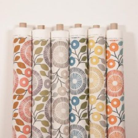 Natasha Marshall -  Alegre Fabric Collection - 6 bolts of fabric with stylised florals featuring shades such as white, pink, brown, green, grey, blue, yellow and orange