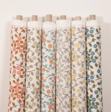 Natasha Marshall -  Alegre Fabric Collection - Stylised florals printed on six bolts of fabric, made in white, pink, brown, grey, green, blue, orange and yellow
