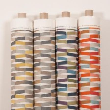 Natasha Marshall -  Alegre Fabric Collection - Orange, pink, brown, grey, blue, purple, green, mustard and white geometric patterns printed on four bolts of fabric