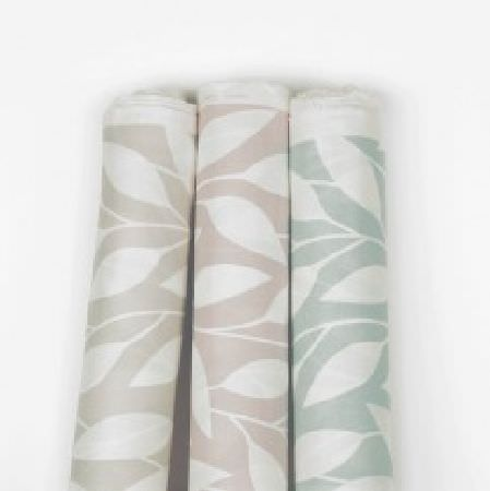 Natasha Marshall -  Ikon Print Fabric Collection - Very simple leaf designs patterning three bolts of fabric in white and very pale shades of grey, pink and blue