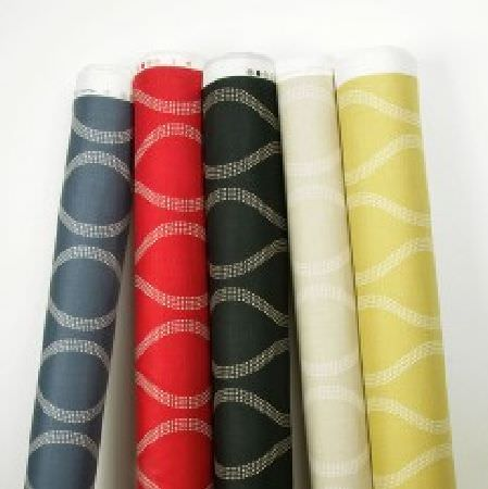 Natasha Marshall -  Ikon Print Fabric Collection - Wavy lines made up of tiny white dots, printed on five bolts of fabric in navy, red, black, pale grey and light gold-green