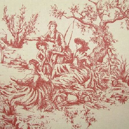 Novelty -  French Toile De Jouy Fabric Collection - Cream fabric printed with a an outdoors scene ofpeople and trees in a brick red colour