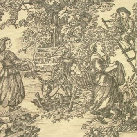 Novelty -  Rustic French Toile De Jouy Fabric Collection - Grey and light creamy yellow fabric featuring a design with drawings of people picking fruit with trees and a donkey