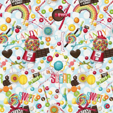 Novelty -  Vibrant Digital Prints Fabric Collection - Bright multicoloured sweets, chocolate and candy themed fabric with lollipops, gumball machines, rainbows, text and more