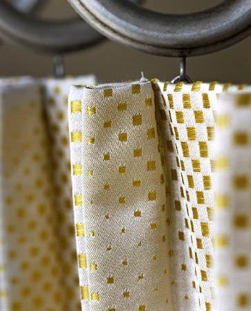 Olivia Bard -  Do Decadence Fabric Collection - A collection of fabrics in light beige from the Do Decadence collection featuring pattern of squares in gold