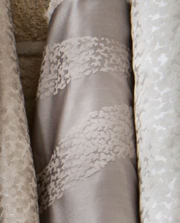 Olivia Bard -  Do Decadence Fabric Collection - Elegant silky fabrics from the Do Decadence collection in different shades of silver grey with simple velvet decorations
