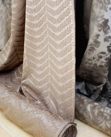 Olivia Bard -  Do Decadence Fabric Collection - Light beige fabric from the Do Decadence collection featuring a pattern of dark beige decorated chevron lines