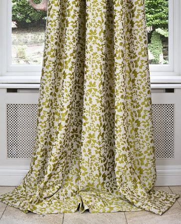 Olivia Bard -  Tamed Spirit Fabric Collection - Long, elegant curtain dyed in light beige decorated with a creative floral pattern in gold
