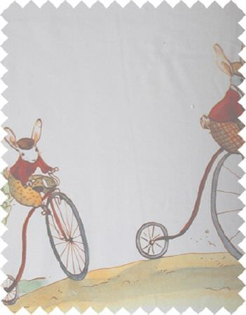 Coordonne -  Bunnys Day Out Fabric Collection - A swatch of white fabric printed with bunnies and penny farthings in muted red, yellow and grey tones