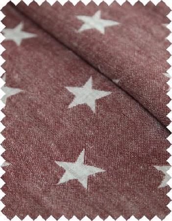 Coordonne -  Stars and Stripes Fabric Collection - Pale grey stars patterning dark blood red coloured fabric