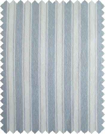 Coordonne -  Theo Fabric Collection - A swatch of vertically striped fabricmade in white and powder blue