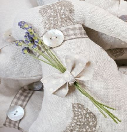 Peony and Sage -  Country Life Fabric Collection - Padded objects made from off-white and light grey checked and feather print fabric,with buttons, a bow and lavender