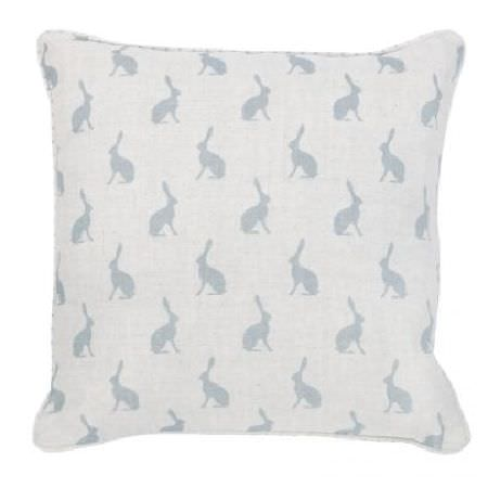 Peony and Sage -  Country Life Fabric Collection - Pale grey hare silhouettes arranged in neat, regular rows over a square white fabric covered cushion