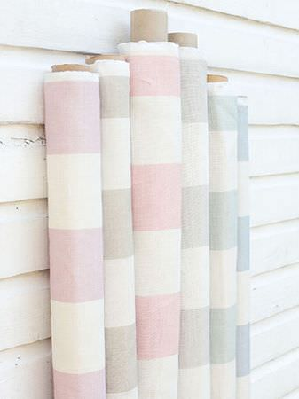 Peony and Sage -  Country Life Fabric Collection - Rolls of striped fabric with wide, simple designs in white and pale shades of mauve, beige, pink,grey, green and blue