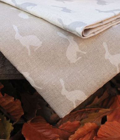 Peony and Sage -  Country Life Fabric Collection - Autumn leaves withpale brown fabric printed with white hares, withwhite fabric featuring light blue hare silhouettes