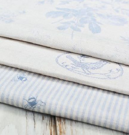 Peony and Sage -  Country Life Fabric Collection - Three different light blue and white fabrics, featuring floral patterns, circles and birds, and stripes with small bees