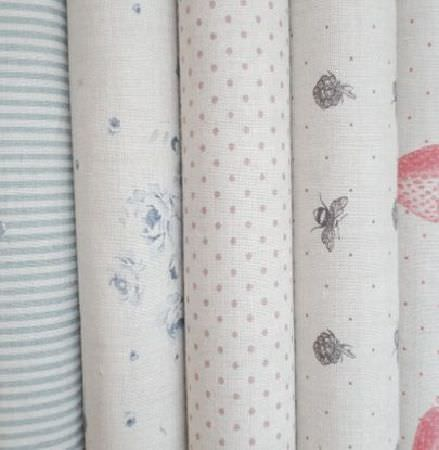 Peony and Sage -  Country Life Fabric Collection - Fabrics with blue and white stripes and florals, grey and white polka dot and bee prints, and pink and white strawberry prints