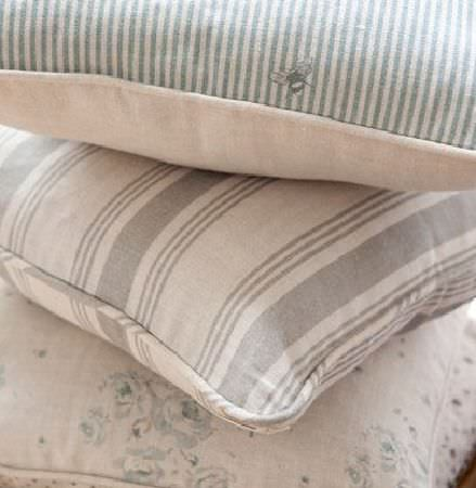 Peony and Sage -  Country Life Fabric Collection - Grey and white stripes, plain fabrics and florals making up a stack of three cushions