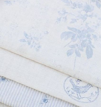 Peony and Sage -  Country Life Fabric Collection - Blue and white floral fabric, on blue and white oval and bird print fabric, on blue and white stripe and bee print fabric