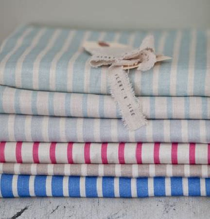 Peony and Sage -  Country Life Fabric Collection - A stack of six striped fabrics made in combinations of white, pale blue, sky blue, light grey, dark pink and Royal blue