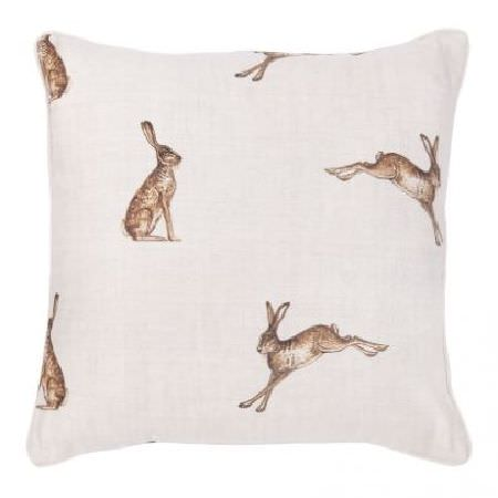 Peony and Sage -  Country Life Fabric Collection - Square cushion made from white fabric featuring a repeated realistic shaded brown hare print pattern