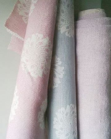 Peony and Sage -  Finca Fabric Collection - Three rolls of fabric featuring subtle floral designs in white and pale shades of pink, blue and lilac
