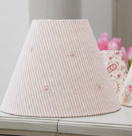 Peony and Sage -  French Florals Fabric Collection - 3 large and small lampshades with bright pink and white florals, paisley shapes, and thin, subtle stripes and bee designs