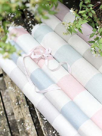 Peony and Sage -  French Florals Fabric Collection - Six rolls of fabric, all featuring block stripe patterns in white and pastel shades of grey, blue, pink and lilac