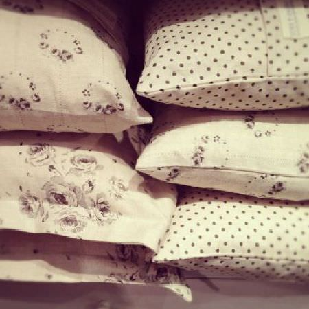 Peony and Sage -  French Florals Fabric Collection - Six scatter cushions arranged in two stacks, all made in cream and charcoal coloured polka dot and floral fabrics