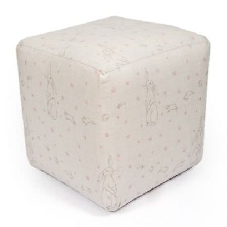 Peony and Sage -  Jack and Jill Fabric Collection - White cube shaped footstool printed with small, subtle, pale greypatterns and fun rabbit designs