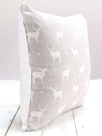 Peony and Sage -  Jack and Jill Fabric Collection - White wood with a square cushion withplain white fabric on one side and grey fabric on the other with white stags and stars