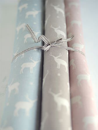 Peony and Sage -  Jack and Jill Fabric Collection - Three stag and star fabrics in blue and white, grey and white, and pink and white, all tied together with thin grey ribbon