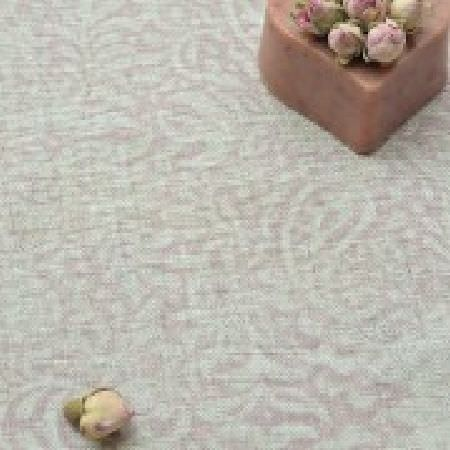 Peony and Sage -  Living Pretty Fabric Collection - A heart shaped box holding flower buds sitting on apale pink and grey patterned surface with a small, subtle design