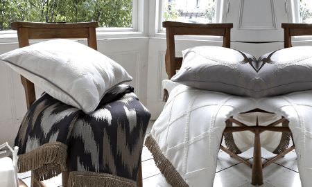 Prestigious Textiles -  Atmosphere Fabric Collection - Throws and cushions in white, silver and gray