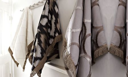 Prestigious Textiles -  Atmosphere Fabric Collection - Fabric with embroidery, fringing, printed and geometric patterns