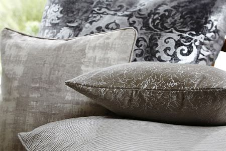 Prestigious Textiles -  Baroque Fabric Collection - Four square scatter cushions, all with different stripes and patterns in light and dark shades of grey, silver and black