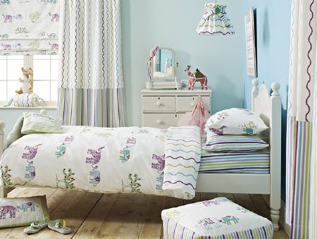 Prestigious Textiles -  Be Happy Fabric Collection - Purple, blue, green and white elephant duvet cover, cushion, pillowcase and blind, with matching stripedcurtains, footstool, lamp and sheet