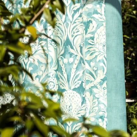 Prestigious Textiles -  Blossom Fabric Collection - Turquoise fabric with a Mediterranean style pattern in white