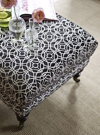Prestigious Textiles -  Boutique Fabric Collection - Black and white geometric patterned footstool with dark wood feet, with a grey rug, a green glass and two small clear vases
