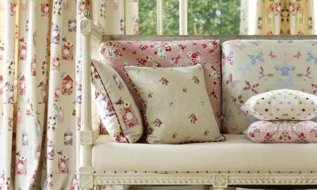 Prestigious Textiles -  Butterfly Gardens Fabric Collection - Cottage style elegance - cushions and curtains in cream and pastel colours, floral, butterfly and spotted patterns