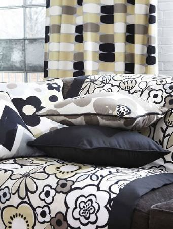 Prestigious Textiles -  Carnaby Fabric Collection - Black, grey, cream and gold patterned cushions, blanket and curtains