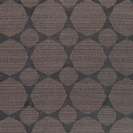 Prestigious Textiles -  Cosmos Fabric Collection - Dark chocolate brown coloured octagons in two different sizes patterning fabric in a slate grey colour