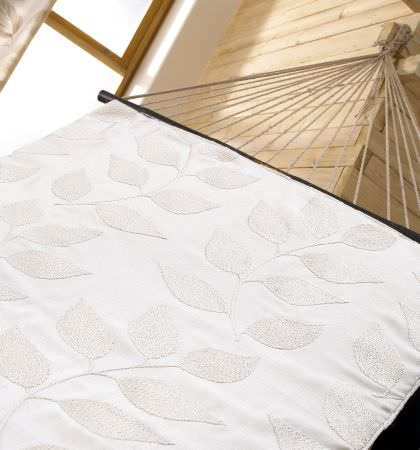 Prestigious Textiles -  Countryside Fabric Collection - Hammock with white fabric decorated with stitched foliage pattern