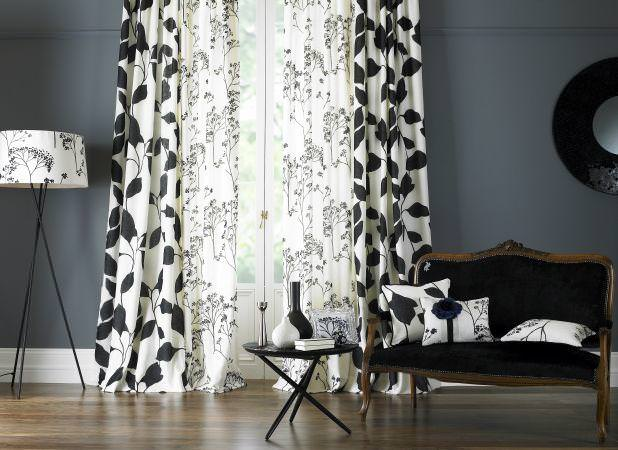 Grey curtains for living room - Prestigious Textiles Decor Fabric Collection Double White Curtains