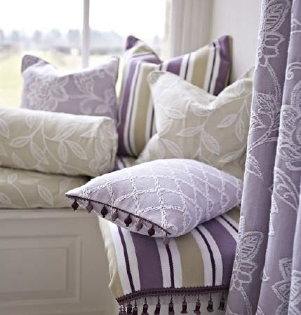 Prestigious Textiles -  Dorchester Fabric Collection - Purple, light green-grey and white cushions, curtains and a throw featuring stripes, embroidery, checks, leaves and florals