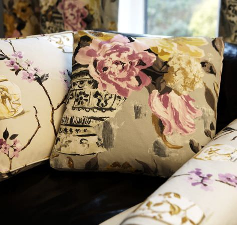 Prestigious Textiles -  Drawing Room Fabric Collection - Floral elegance - blossom and rose patterns in cream, pink, yellow and black