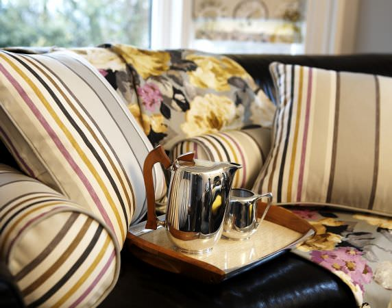 Prestigious Textiles -  Drawing Room Fabric Collection - Stripes and florals, modern cushion and throw designs from the Drawing Room Collection in cream, yellow, pink and black