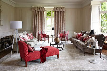 Prestigious Textiles -  Eden Fabric Collection - Red, white and grey patterned, plain and striped furniture; a sofa, an armchair, a chaise longue, with cushions and curtains